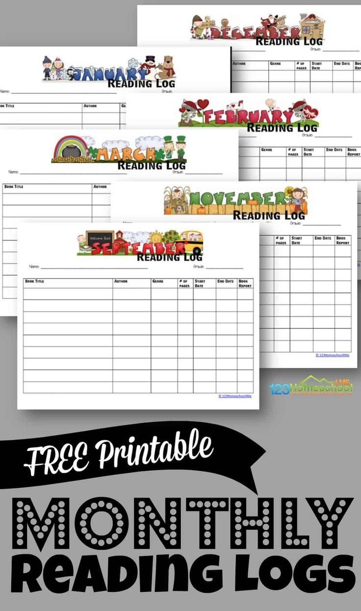 FREE Printable Monthly Reading Logs Reading logs