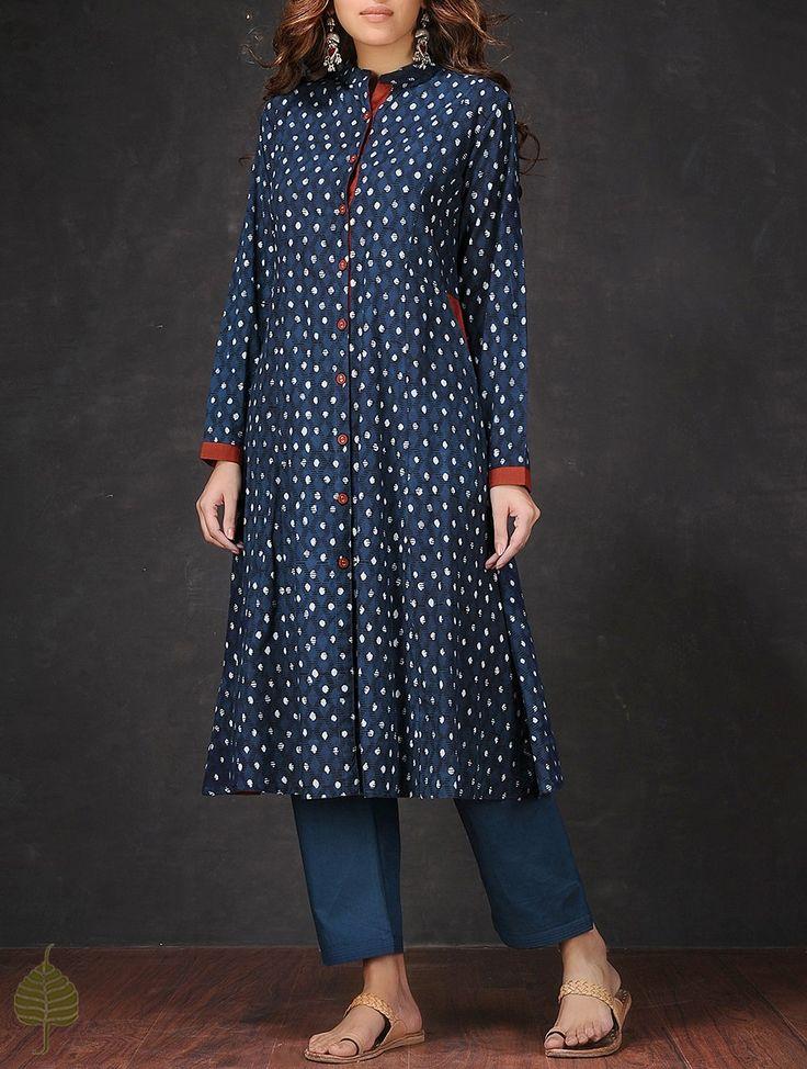 Buy Indigo Madder Natural dyed Dabu printed Cotton Kurta with Pocket by Jaypore…
