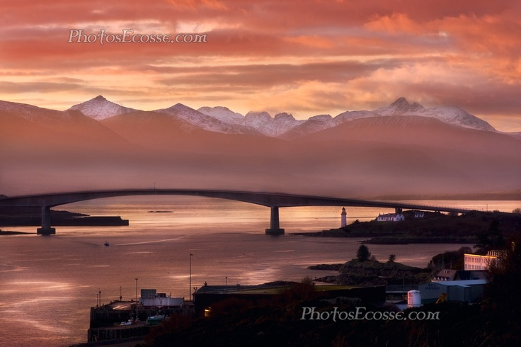 Isle of Skye from Kyle of Lochalsh, a Winter sunset. Scotland.