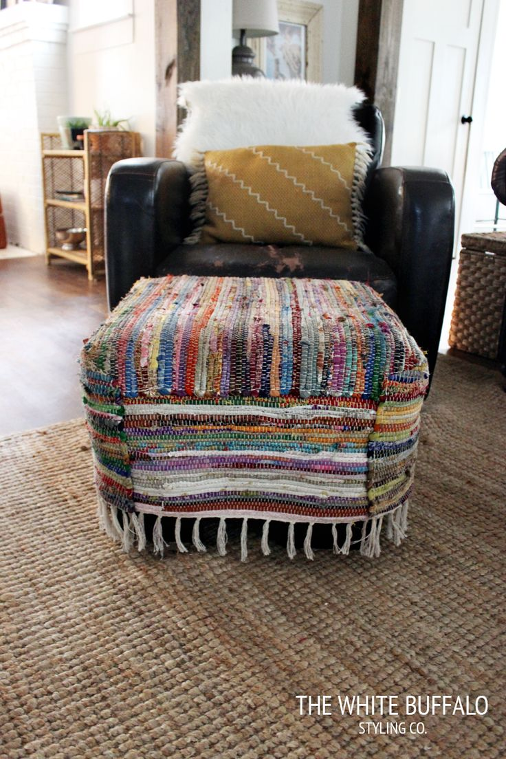 Ottoman Covered In Inexpensive Rugs. Love It!