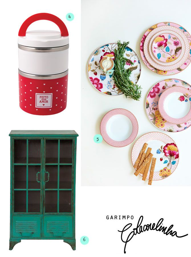 Cozinha colorida com objetos da Gift Fair 201. Pratos coloridos, marmiteira, xícaras e copos divertidos.