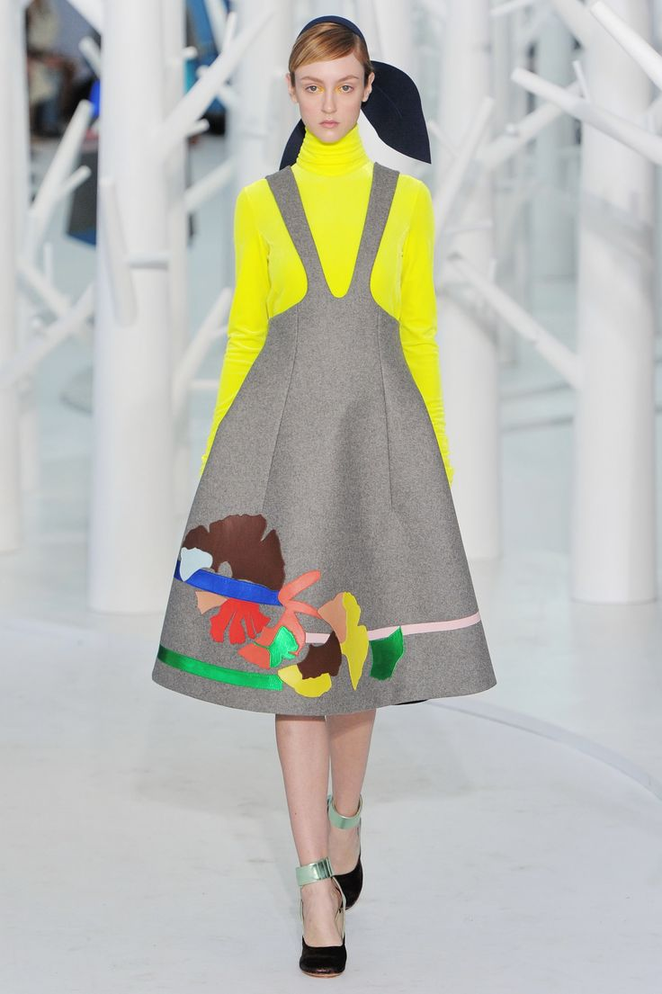 wgsn: Chiffon flowers sit atop floating structured fit and flare dresses at the @officialdelpozo #NYFW #AW15 show