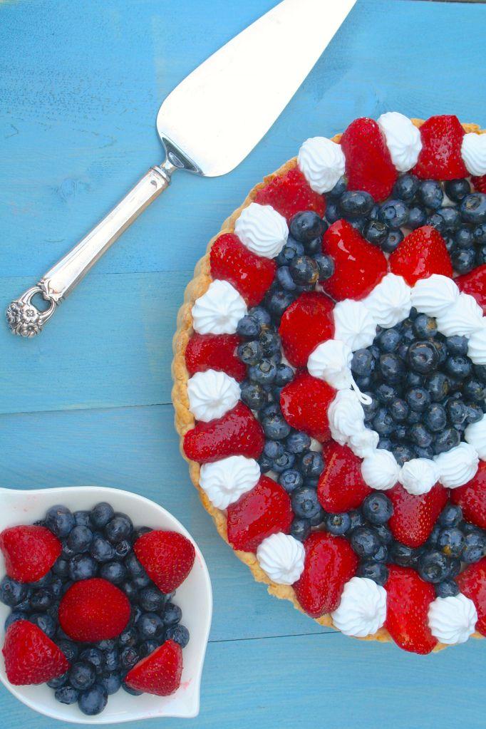4th of July Vegan Red White and Blue Fruit Tart Recipe #Vegan #4th_of_July  #Red_White_and_Blue #Fruit #Tart #Blueberries #Strawberries #Recipe