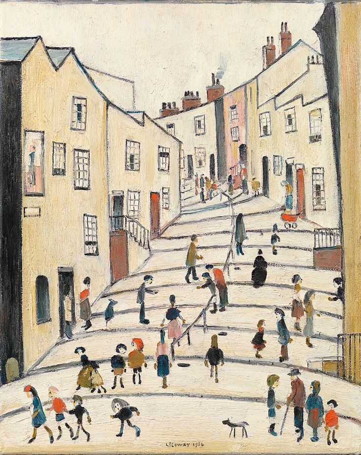 Crowther Street, Stockport by Laurence Stephen Lowry (1964). Lancashire-born painter L.S. Lowry was lauded in his lifetime for his warm, cartoon-like depictions of working class England. This is one such painting, brimming with color and hidden stories. $1.85m. www.richardgreen.com