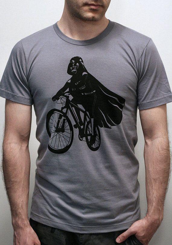 Darth Vader is Riding It - Mens t shirt / Unisex t shirt printed with ECO ink (Star Wars  Darth Vader bike t shirt)