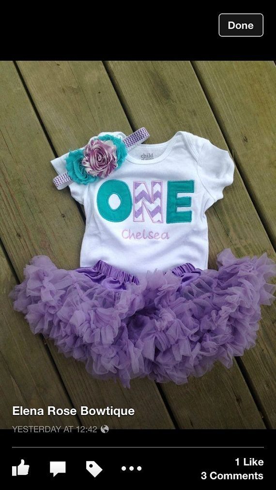This listing is for one custom birthday shirt, headband, and petti skirt in lavender chevron and teal. This shirt can be customized to match any party