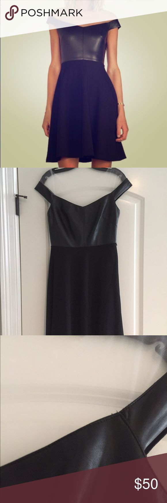 NWOT Bailey 44 endorphin dress sz medium The stress is so cute. It has a leather like top with tulle overlay on the shoulders. It is a size medium. Bailey 44 Dresses