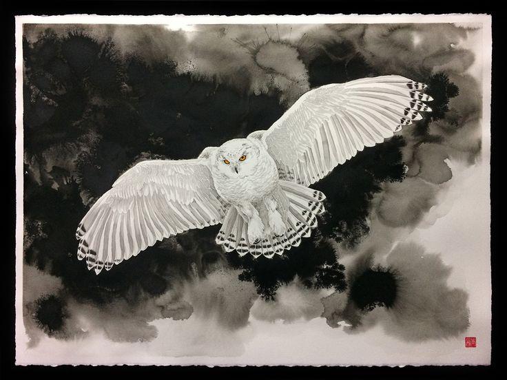 The Snowy Owl (A Coruja-das-neves), 73x92cm, framed (emoldurada). China ink on cotton paper Moulin du Roy.