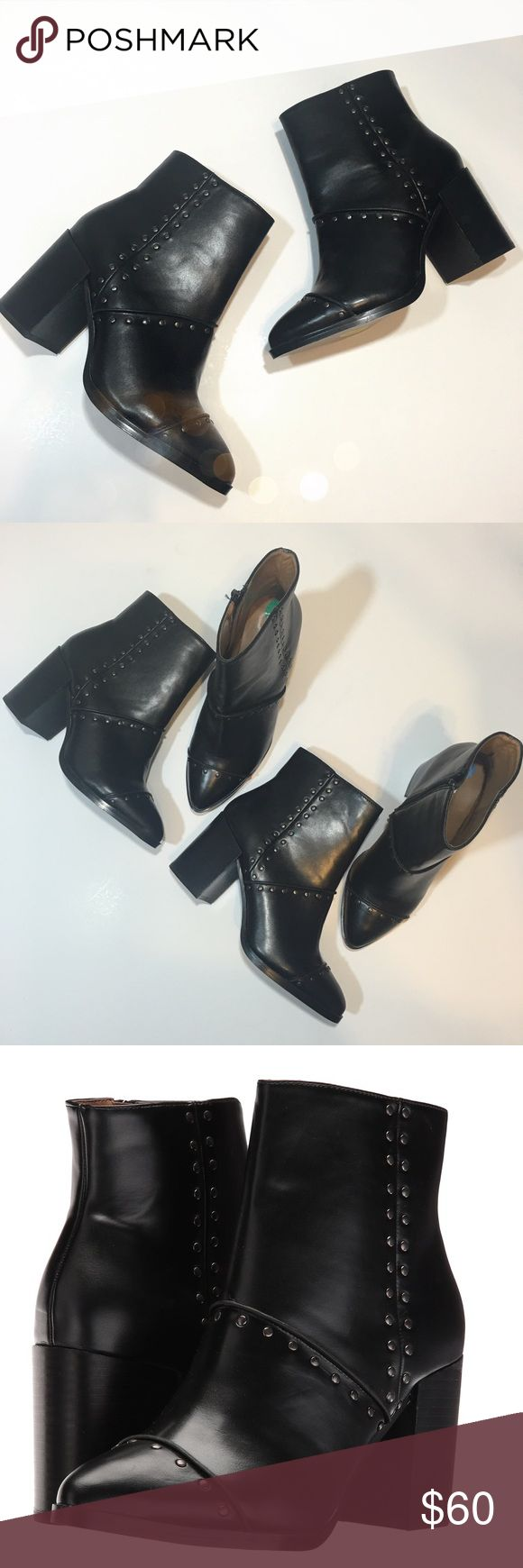 Report Vegan Leather Studded Ankle Booties Super cute and perfectly on trend! Brand new and never worn. Block heel and gunmetal studs. Two sizes available, size 8 & 6.5. No trades!! 0122171500tmr Report Shoes Ankle Boots & Booties