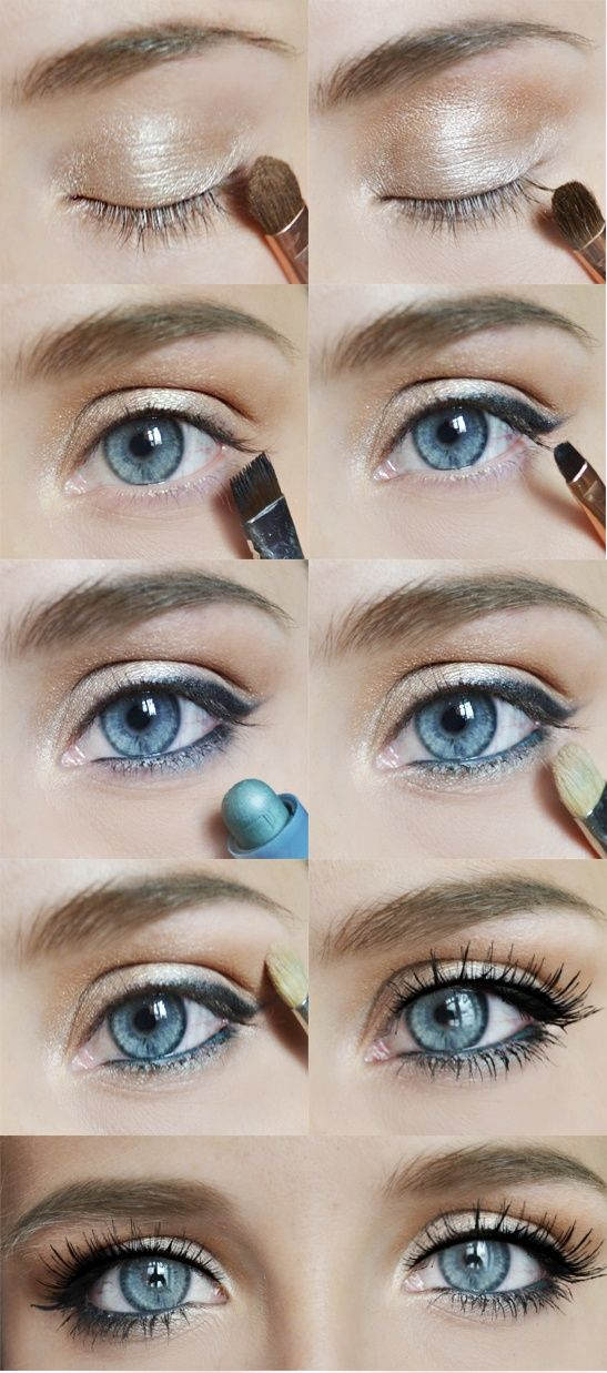 great makeup day or night. makeup is basic for any eye color, switch up the colored liner to your own eye color to make them pop. blues, mauve and greens make brown eyes pop.
