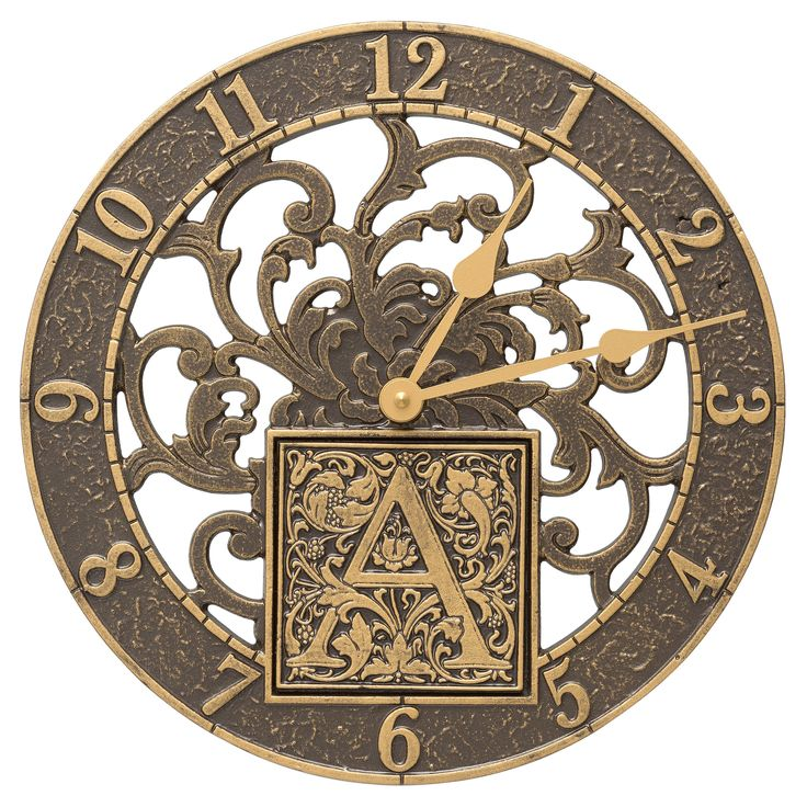 Whitehall Products Silhouette Monogram 12-in. Personalized Indoor/Outdoor Wall Clock | from hayneedle.com