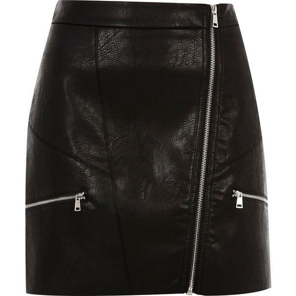 River Island Black zip front A-line mini skirt (86 CAD) ❤ liked on Polyvore featuring skirts, mini skirts, black, women, faux leather mini skirt, short a line skirt, faux leather skirt, river island and tall skirts