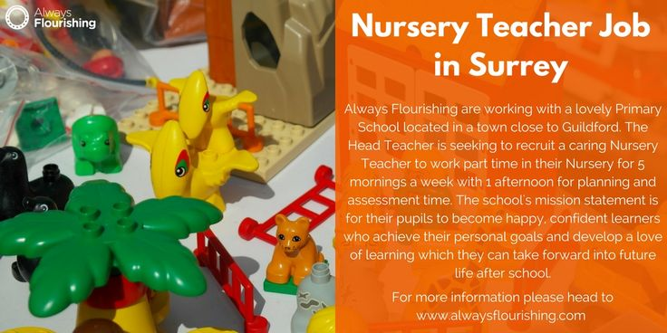 Nursery Teacher Job In Surrey -  We are working with a lovely Primary School located in a town close to Guildford who are looking to recruit a caring Nursery Teacher to work part time in their Nursery for 5 mornings a week with 1 afternoon for planning and assessment time. #Nursery #Jobs #Guildford #TeachingJob