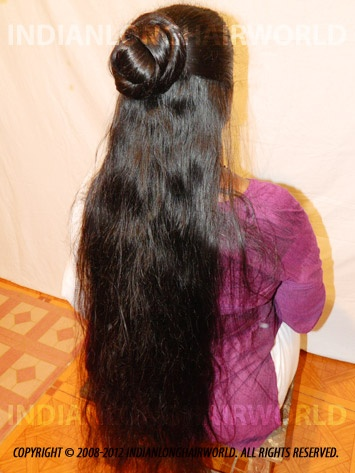 Long Hair Model of the Month October 2012. Darshana with her long, healthy & thick below thigh length hair in Half open & bun