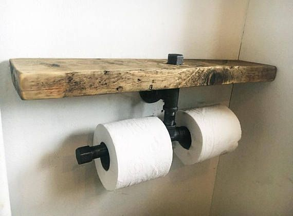 Double Toilet Roll Holder   Industrial Furniture   Bathroom Shelf   Rustic  Wood   Bathroom Accessories   Toilet Roll Holder   Steam Punk
