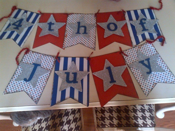 Fourth (4th) of July Banner. $25.00, via Etsy.