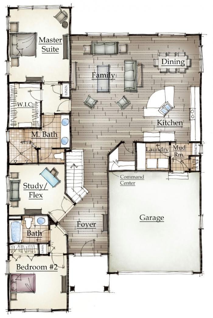 Mayberry's Norway floor plan. von der Garage in den Schmutzraum und dann zur Küche