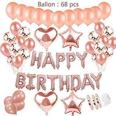 Geburtstagsdeko Rose Gold Fur Madchen Helium Folienballons Happy