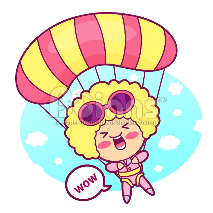 Boians Vector Cute Girl Character is parachuting a jump.#Boians #Parachute #Chute #jump #sport #SweetGirl #PrettyGirl #CuteGirl #LovelyGirl #GirlCharacter #VectorCharacter #CharacterDesign #VectorCharacter #LadyCharacter #Illustration #Vector #Cartoon #Mascot #Design #Girlish #Sweet #Sweetie #Pretty #Cute #Girl #adorable #charming #woman #women #female #lady #girl #womankind #cutie #maidenlike #maidenly #Pictures #images #ClipArt