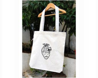 Anatomic Heart And Moustache Man Silkprinted Koumpaki 100% Recycled Eco Friendly Tote Bag/Graphic Design Eco Friendly Recycled Tote Bag