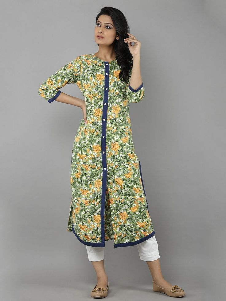 Green Hand Block Printed Cotton Kurta