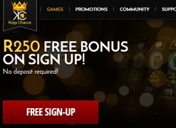 #R250FreeNoDepositBonus @ #KingChanceOnlineCasino  Claim a R250 free no deposit bonus when you register @ King Chance Online Casino. Enjoy top casino games provided by Topgame, Betsoft, Parlay and Pragmatic available on download, instant play and mobile  http://www.onlinecasinosonline.co.za/kings-chance-casino-review.html