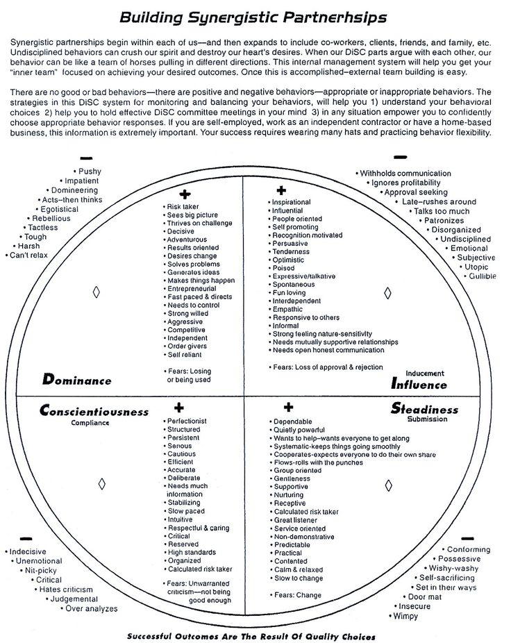 DISC: A useful model for a) understanding your own behavior (not personality) and b) adjusting your behavior to the preferences of another person. I use this frequently in coaching and training to match the behavioral preference of my clients. This graphic gives a detailed description of the POSSIBLE manifestations of each DISC behavior.