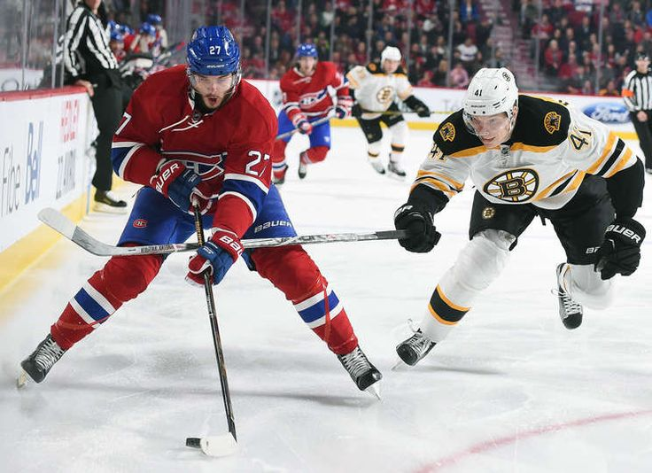 11.7.15 - Bruins vs Habs - Alex Galchenyuk #27 of the Montreal Canadiens controls the puck while being challenged by Joonas Kemppainen #41of the Boston Bruins in the NHL game at the Bell Centre in Montreal, Quebec, Canada. (Photo by Francois Lacasse/NHLI via Getty Images)