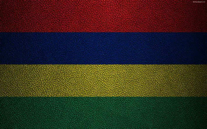 Download wallpapers Flag of Mauritius, 4k, leather texture, Africa, flags of African countries, Mauritius
