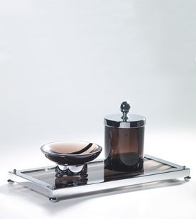 cristal et bronze decorative accessory bathroom chrome obsidian rectangular tray tip jar lid round soap dispenser