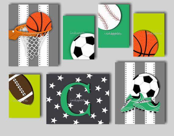 This unique sports print collection, titled For The Love of Sports, will be a great addition to your childs room. The collection includes baseball, football, soccer and basketball prints and each print can be customized for you to match the decor in your boys room. Choose your favorite two sports for the 8 x 10 prints (baseball, football, soccer and basketball). The third 8 x 10 print will feature your childs monogram on a star background and the four 5 x 7 prints feature a baseball…