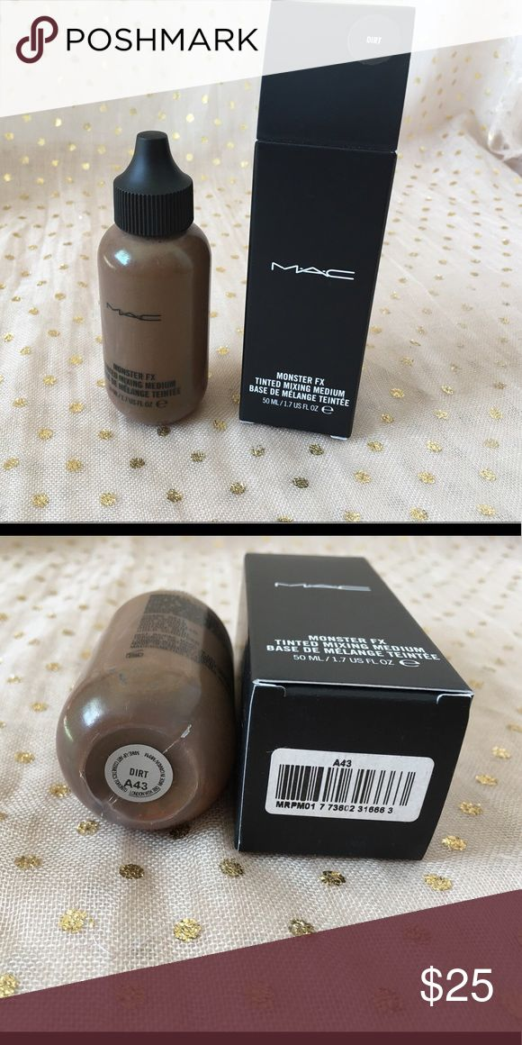 MAC Monster FX Tinted Mixing Medium Dirt New in box. Never used or swatched. MAC Monster FX Tinted Mixing Medium in Dirt, limited edition from the Rick Baker Halloween collection. Hard to find. MAC Cosmetics Makeup Foundation