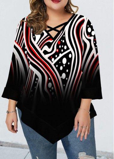 Printed Plus Size Threee Quarter Sleeve T Shirt