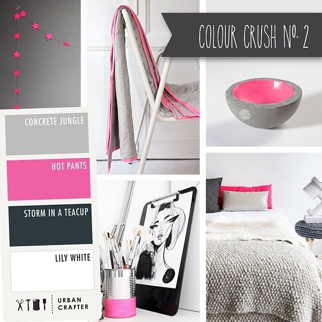 Urban Crafter Colour Crush Mondays www.urbancrafter.com.au  Colour Crush #2. Get a similar look with Urban Crafter's acrylic paints 'Concrete Jungle', ' Hot Pants', 'Storm in a Teacup' and 'Lily White'