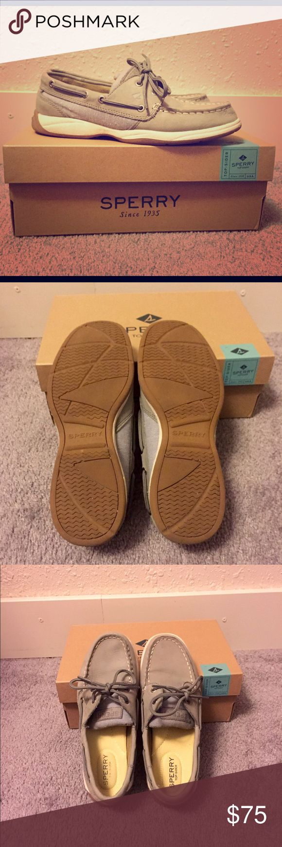 Gray Sperry Top-Sider Boat Shoes These are super cute and very comfortable. I have only worn them maybe twice. Show some slight wear as Sperrys do crease a bit in front when worn. In great condition and come in original box. Sperry Top-Sider Shoes Flats & Loafers
