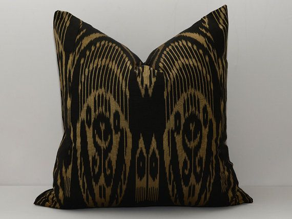 20x20 black golden ikat pillow black cushion golden by SilkWay, $24.69