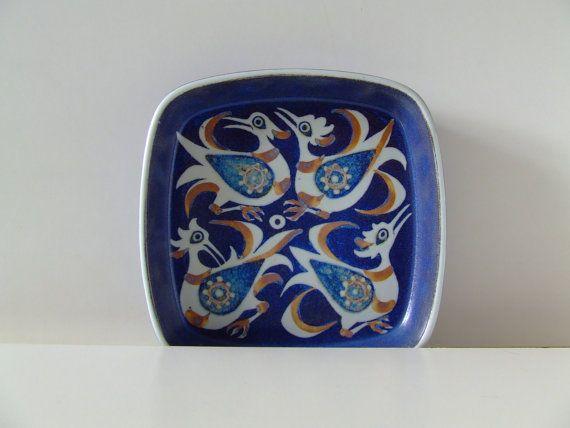 Aluminia - Royal Copenhagen Fajance Bowl - Blue and White Baca Birds - Design Nils Thorsson