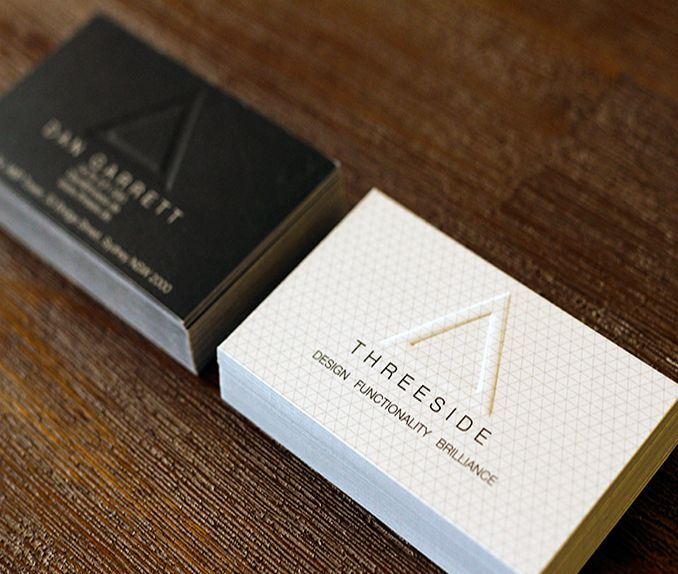 THREESIDE Business Cards featuring an embossed finish on the logo