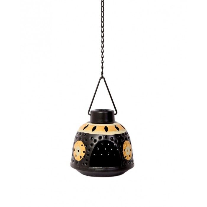 Hanging Tea Metal Light Holder (Black & Gold) - Home Decor - Indikala