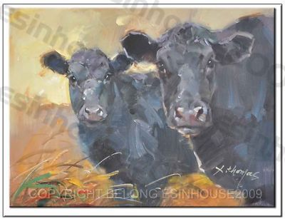esinhouse2009 : Black Angus cattle Cow PaintingOririnal Oil canvas12*16