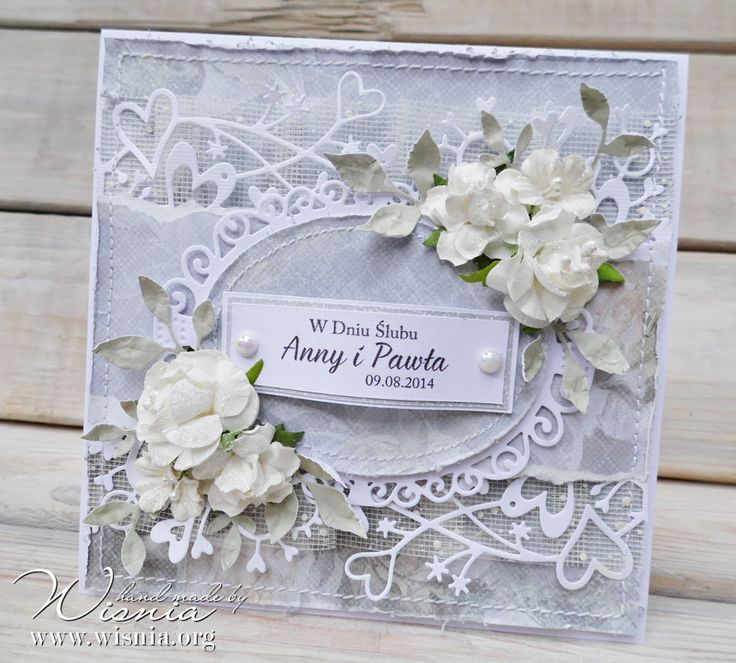 96 best kartki lubne images on pinterest handmade cards homemade hand made by wisnia wedding card with flowers stopboris Image collections