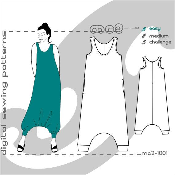 Racerback Jumpsuit (sizes: uk 10-20/usa 6-16) Harem-style/ Maternity suitable/ digital sewing pdf pattern for women >mc2-patterns< mc2-1001