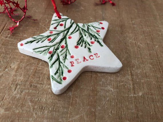 Star Ornament Peace Christmas Decoration Nature Inspired Etsy Clay Christmas Decorations Ceramic Christmas Decorations Christmas Clay