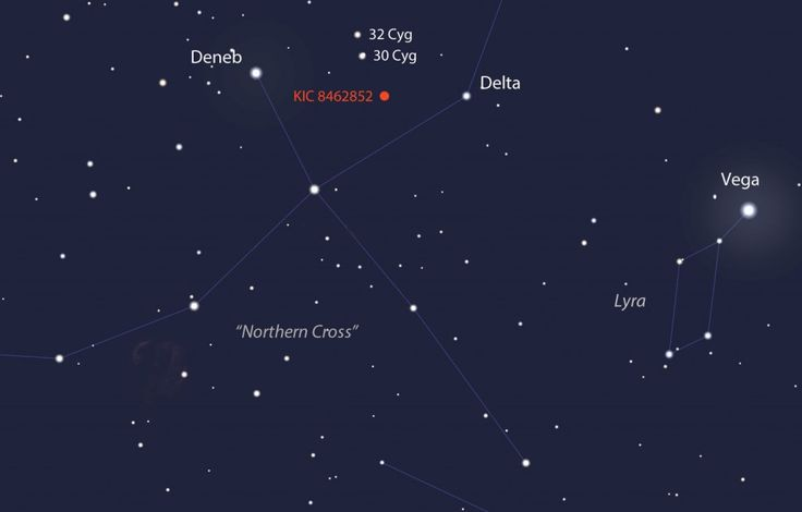Tabby's Star shines at magnitude +11.7 in the constellation Cygnus the Swan (Northern Cross) high in the southwestern sky at nightfall in late October. A 6-inch or larger telescope will easily show it. Source: Stellarium