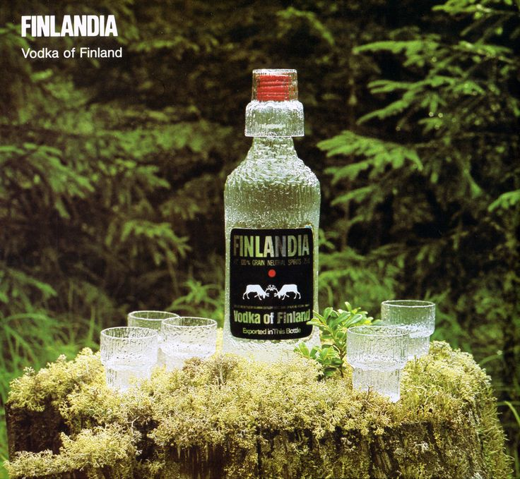 Finlandia Vodka, bottle and 'Paadar' shot glasses designed by Tapio Wirkkala (1976).