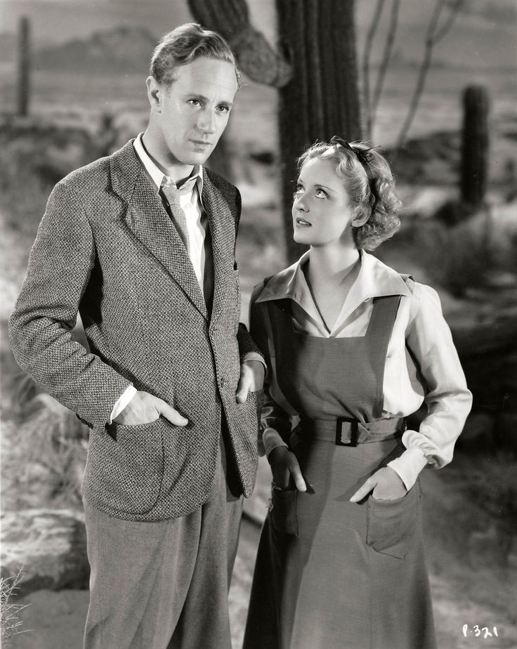 "Leslie Howard and Bette Davis in ""The Petrified Forest"" (1936) Another old favorite. Humphrey Bogart is in it too."