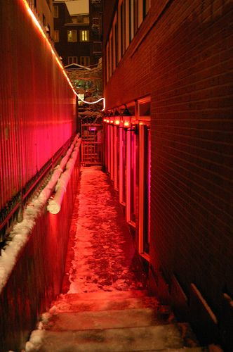Amsterdam - Red Light (Actually walked down this alley on at Saturday night...packed!)