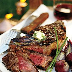 Grilled Peppery Rib Eye Steaks With Roquefort Butter