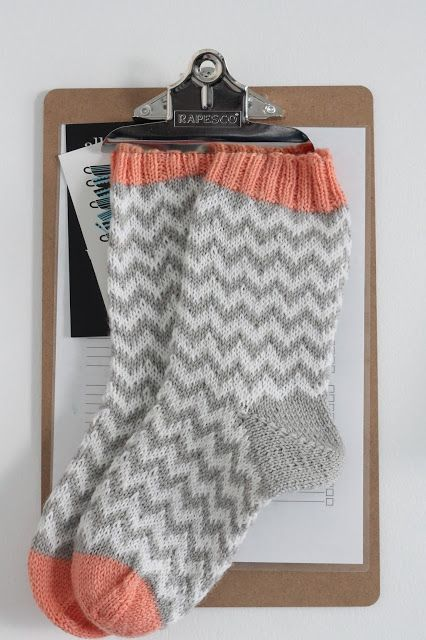 Chevron socks in spring colours