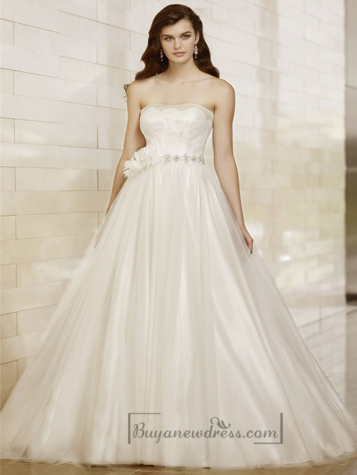 Strapless A-line Designer Wedding Dresses